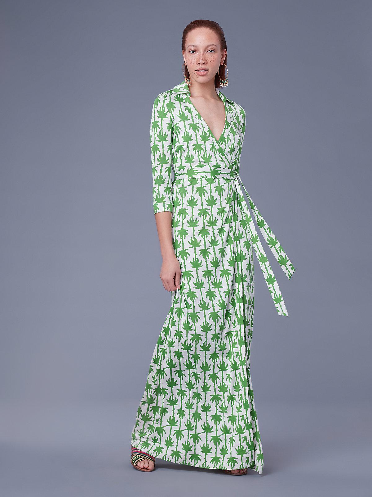 d3126a65a8a Diane von Furstenberg Abigail Silk Jersey Wrap Dress in Green - Lyst