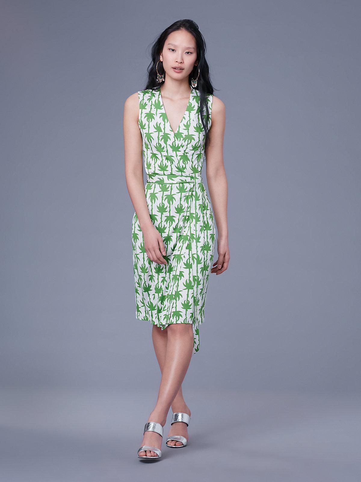 151b1c6eef05 Diane von Furstenberg. Women s Green Sleeveless Yahzi Silk Jersey Wrap Dress
