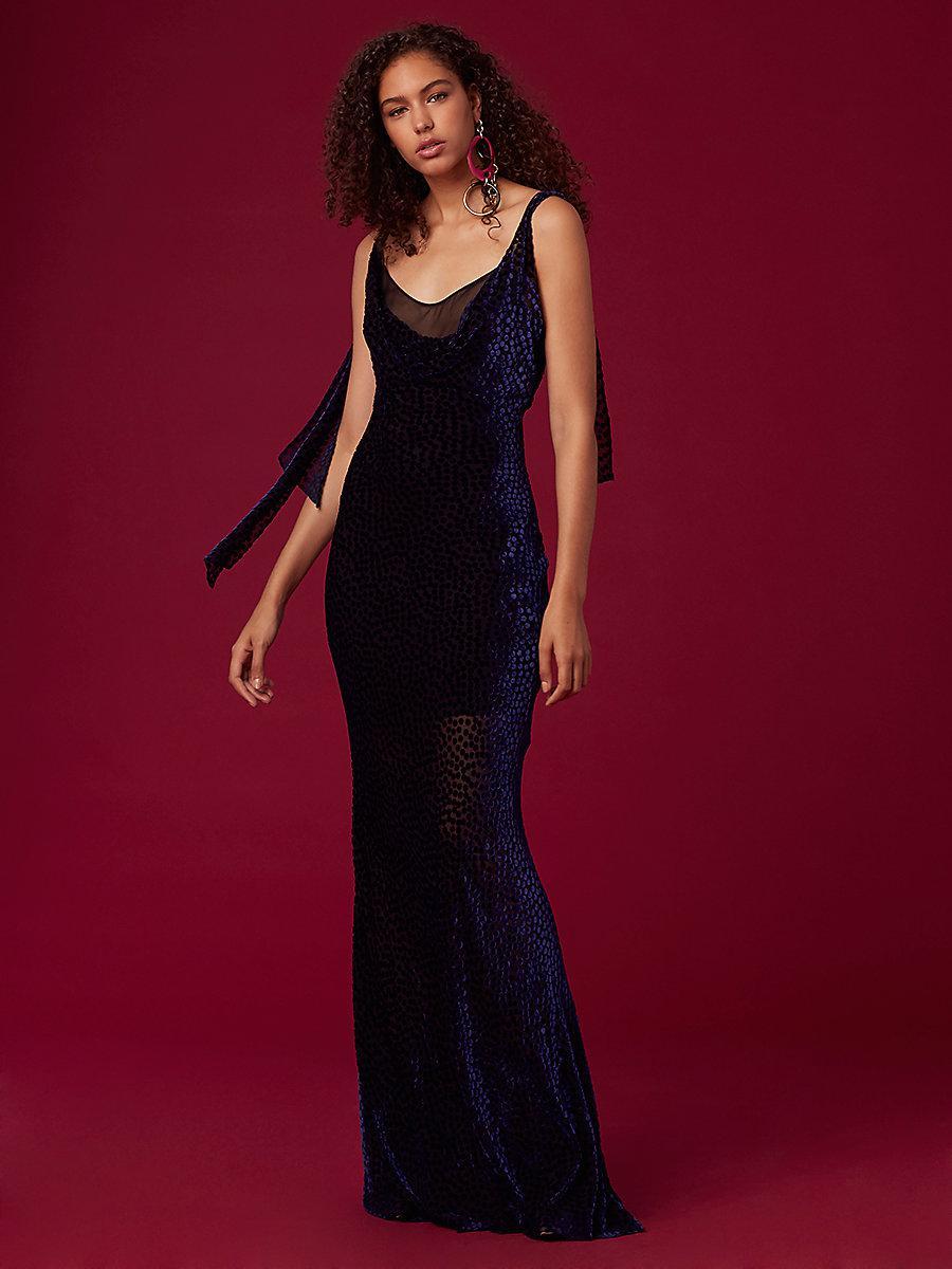 Lyst - Diane Von Furstenberg Shoulder Knot Slip Gown in Red - Save ...