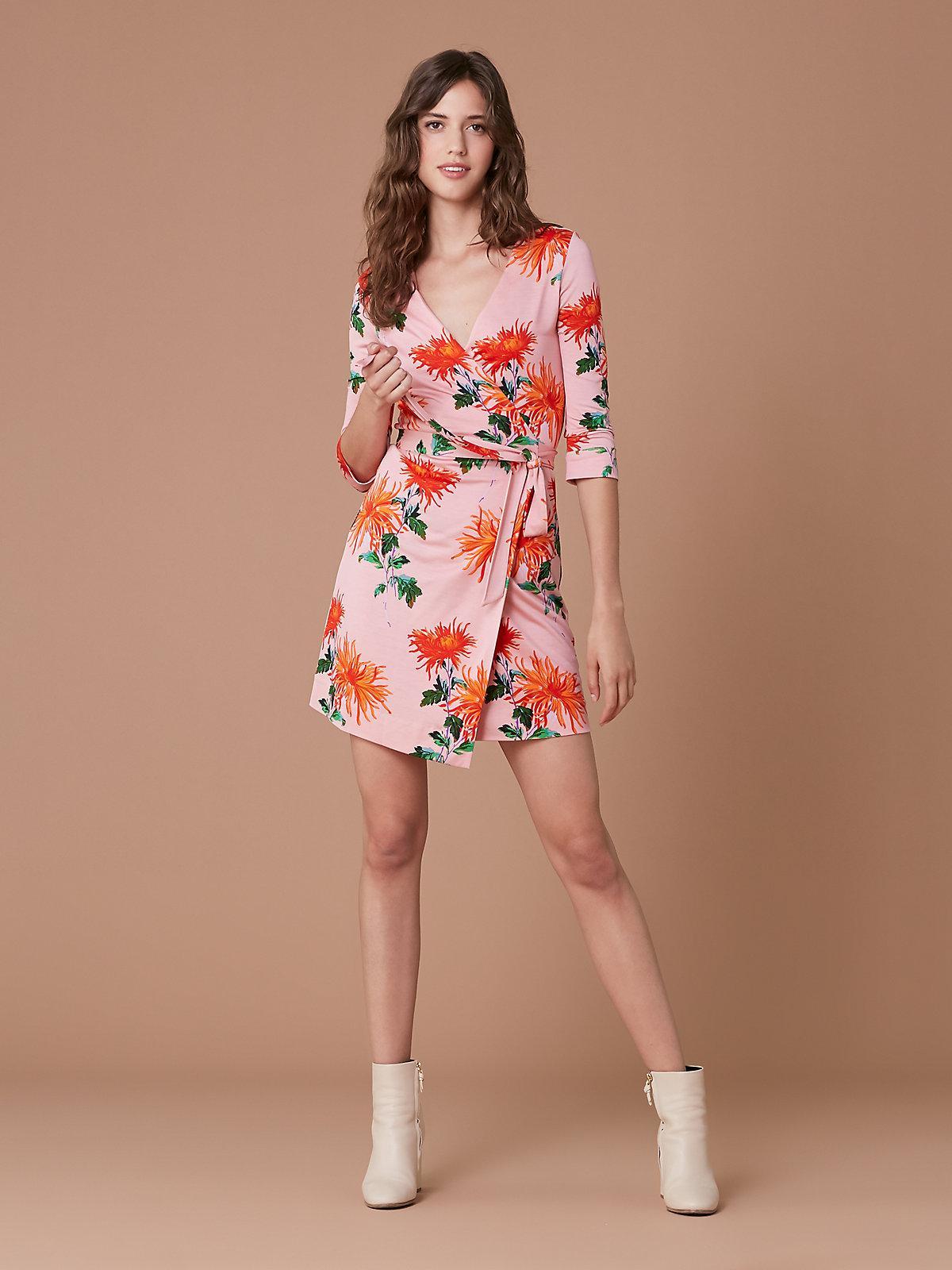 da1b742419b3 Lyst - Diane von Furstenberg New Julian Two Mini Wrap Dress in Pink