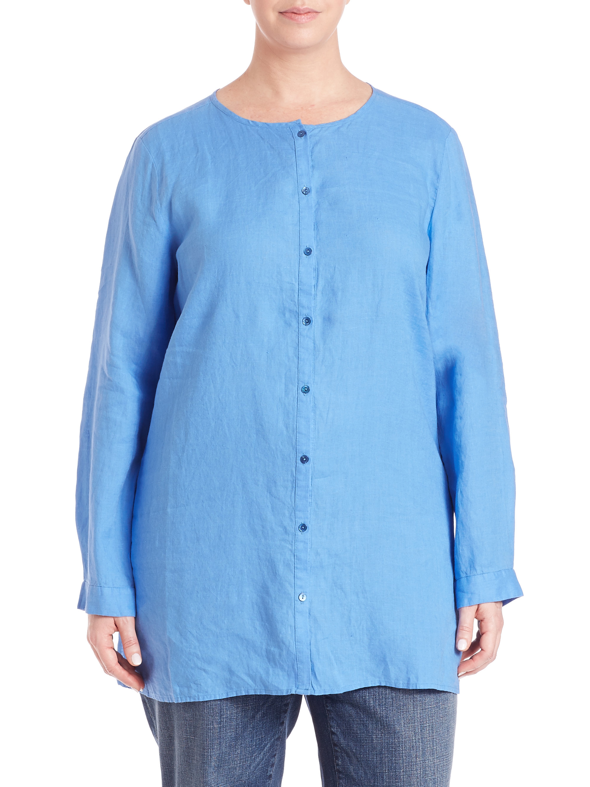 4d468f5c Eileen Fisher Organic Linen Tunic Shirt in Blue - Lyst