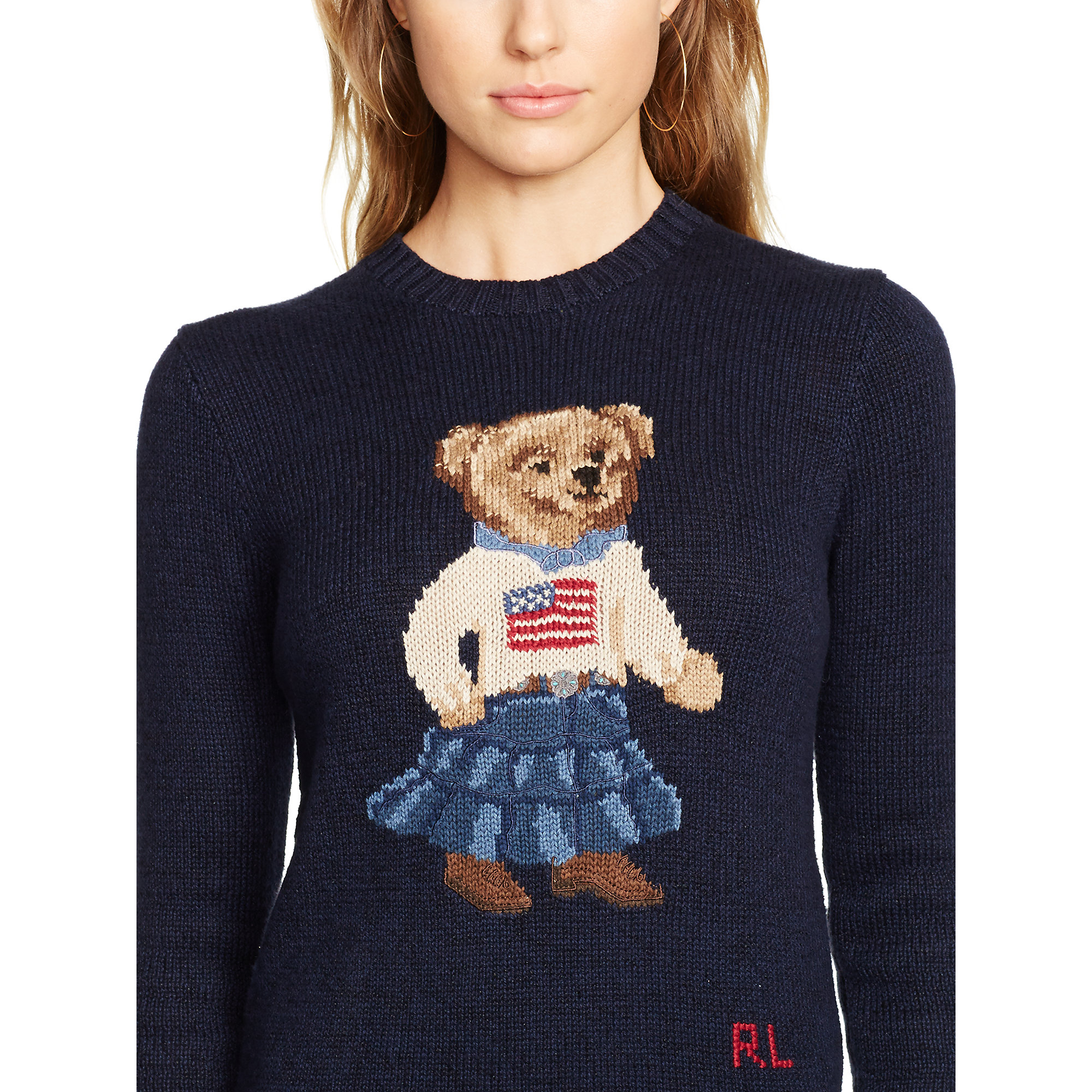 lyst ralph lauren pima cotton bear sweater in blue. Black Bedroom Furniture Sets. Home Design Ideas