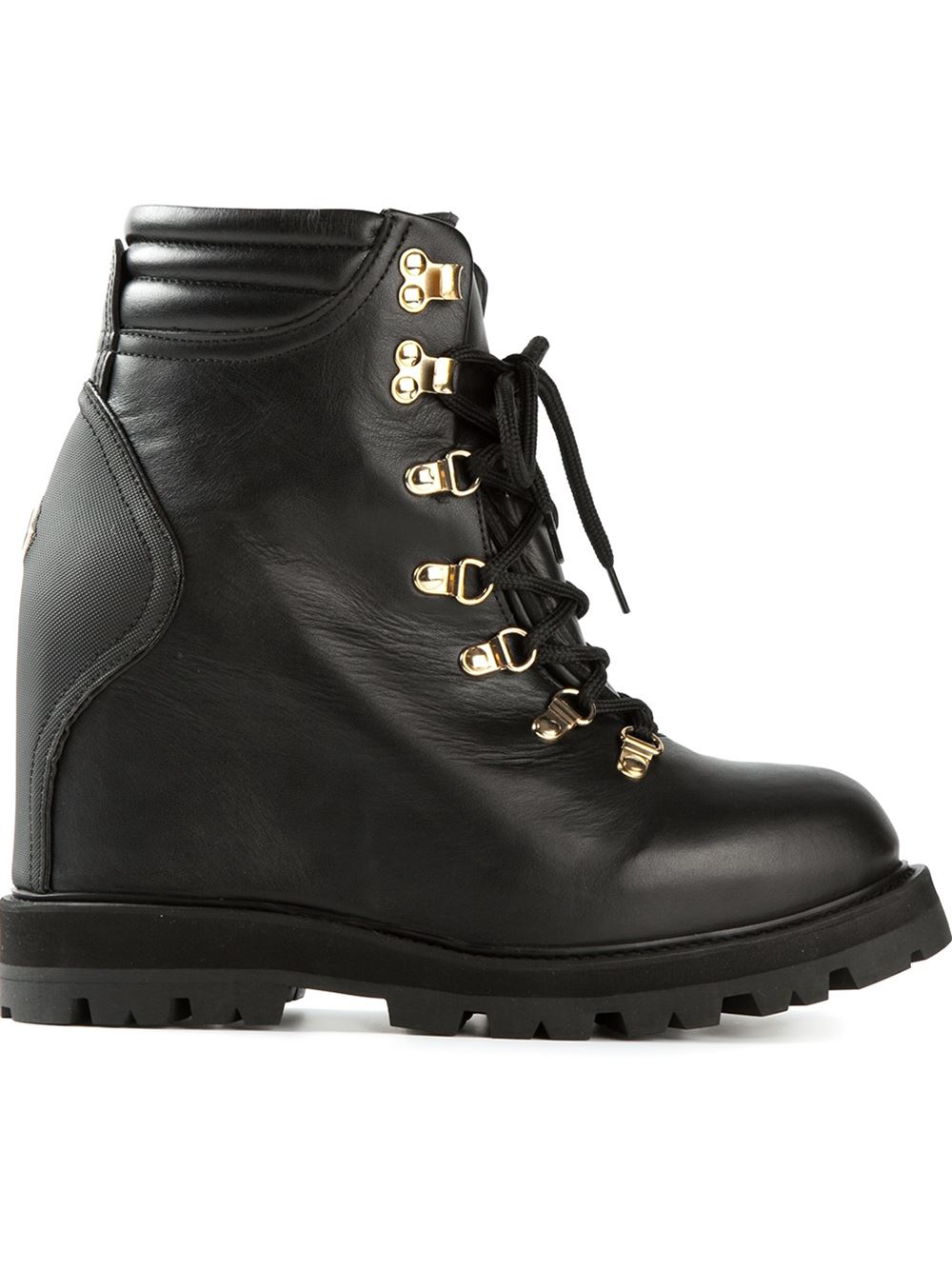 moncler concealed wedge lace up boots in black lyst
