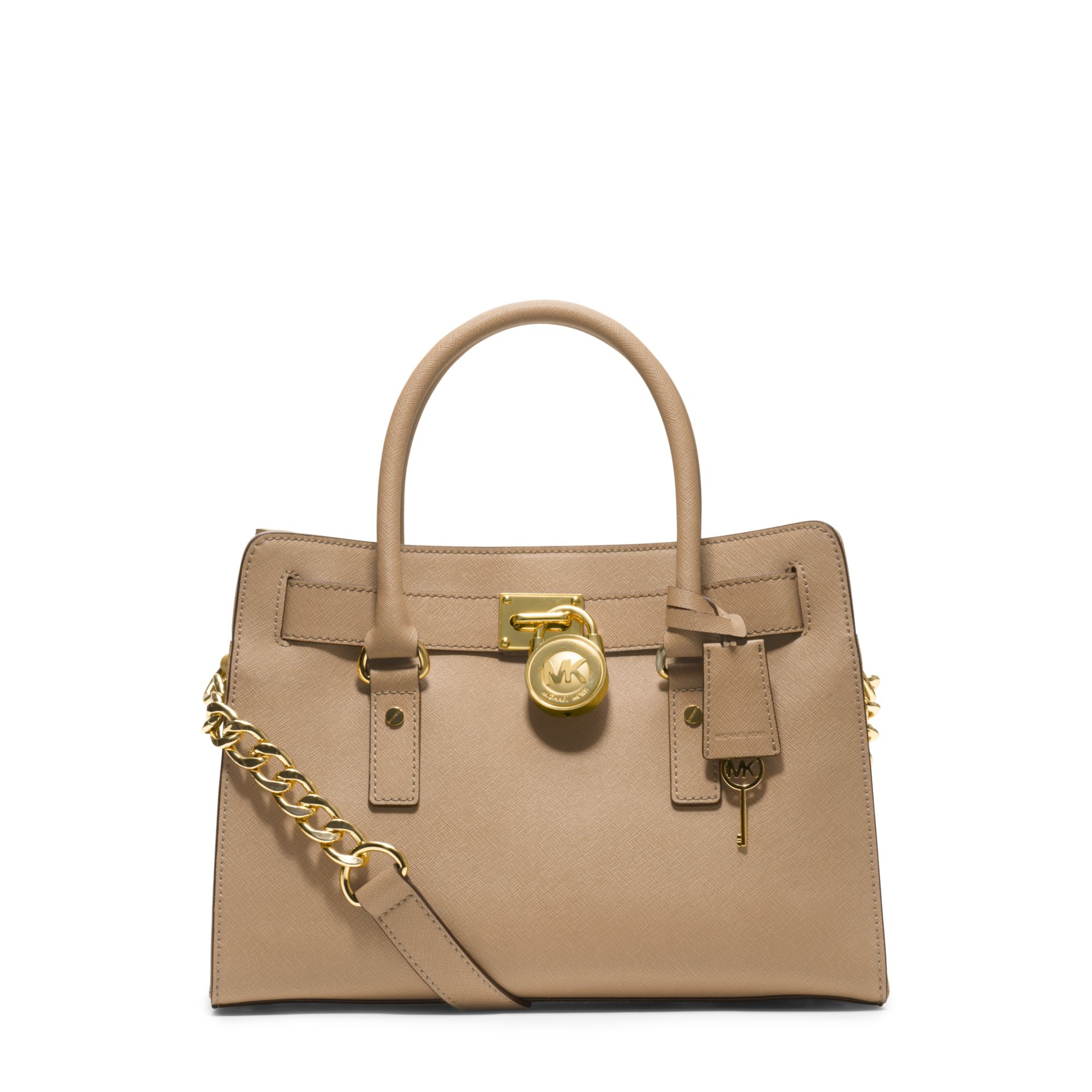 7a1bf49df3 ... netherlands lyst michael kors hamilton saffiano leather medium satchel  in natural 834fc dbe9d
