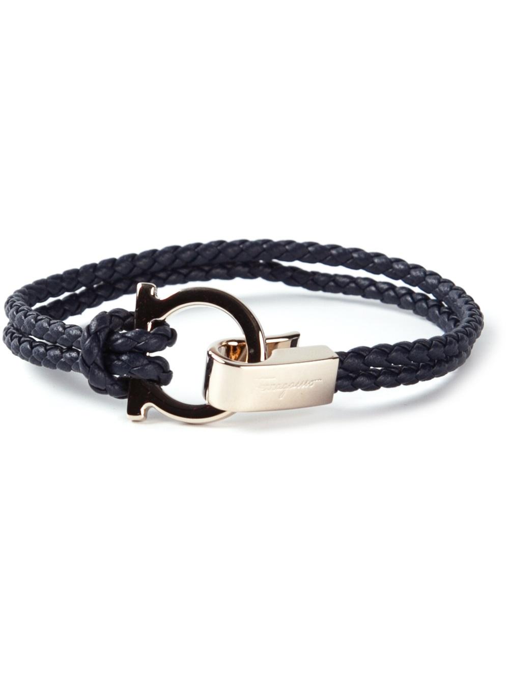 ferragamo woven gancio bracelet in blue lyst
