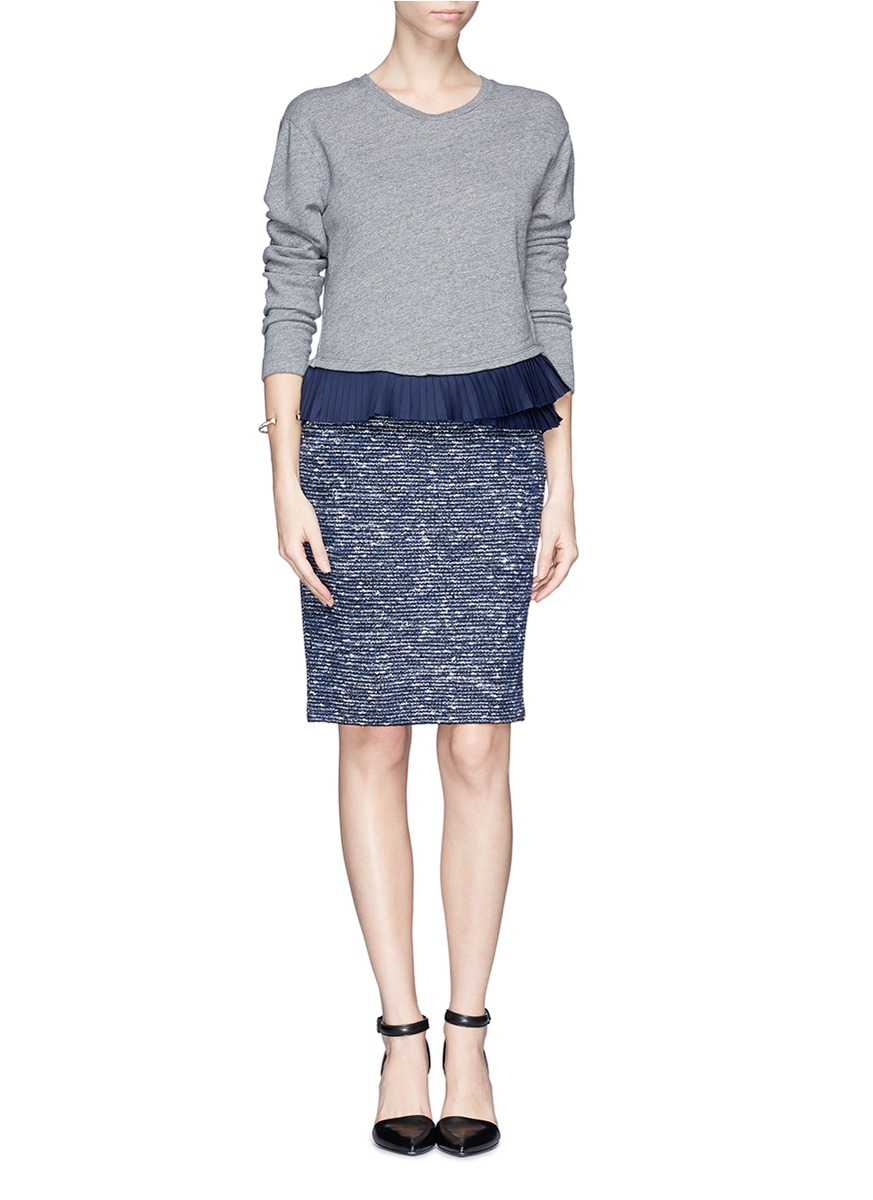 st gray boucl 233 tweed pencil skirt lyst