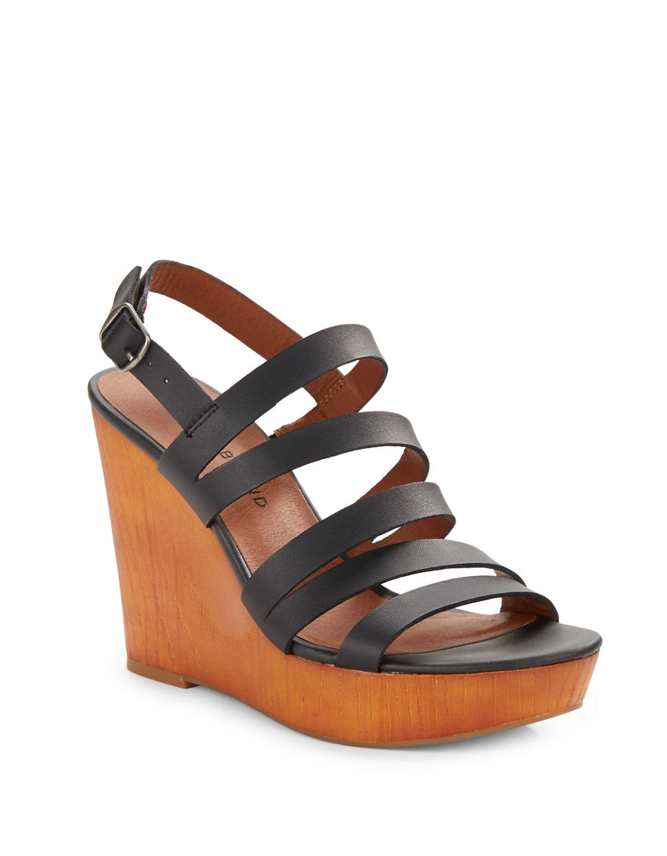 lucky brand larinaa wedge sandals in black lyst