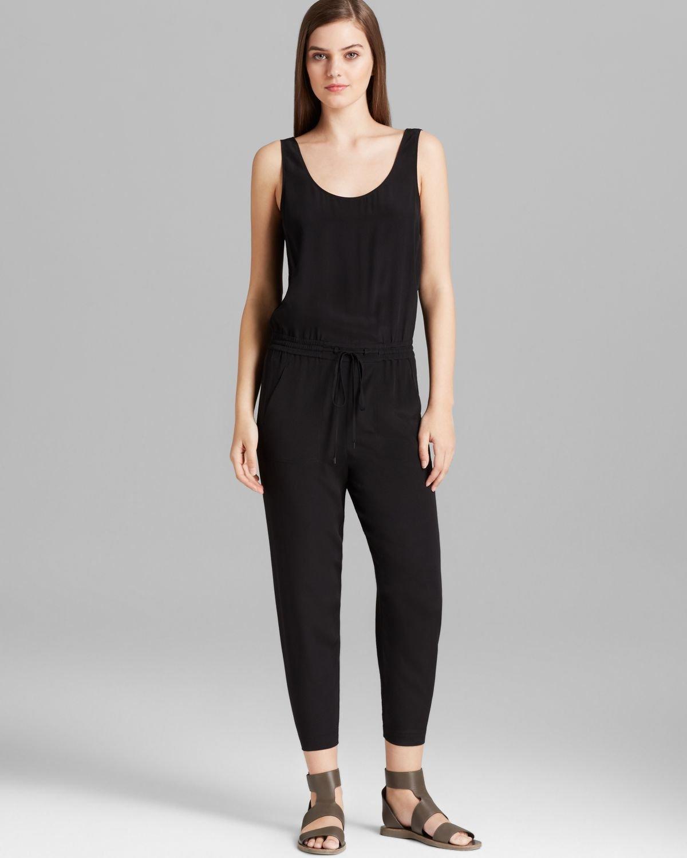 Vince Jumpsuit Sleeveless Silk In Black | Lyst