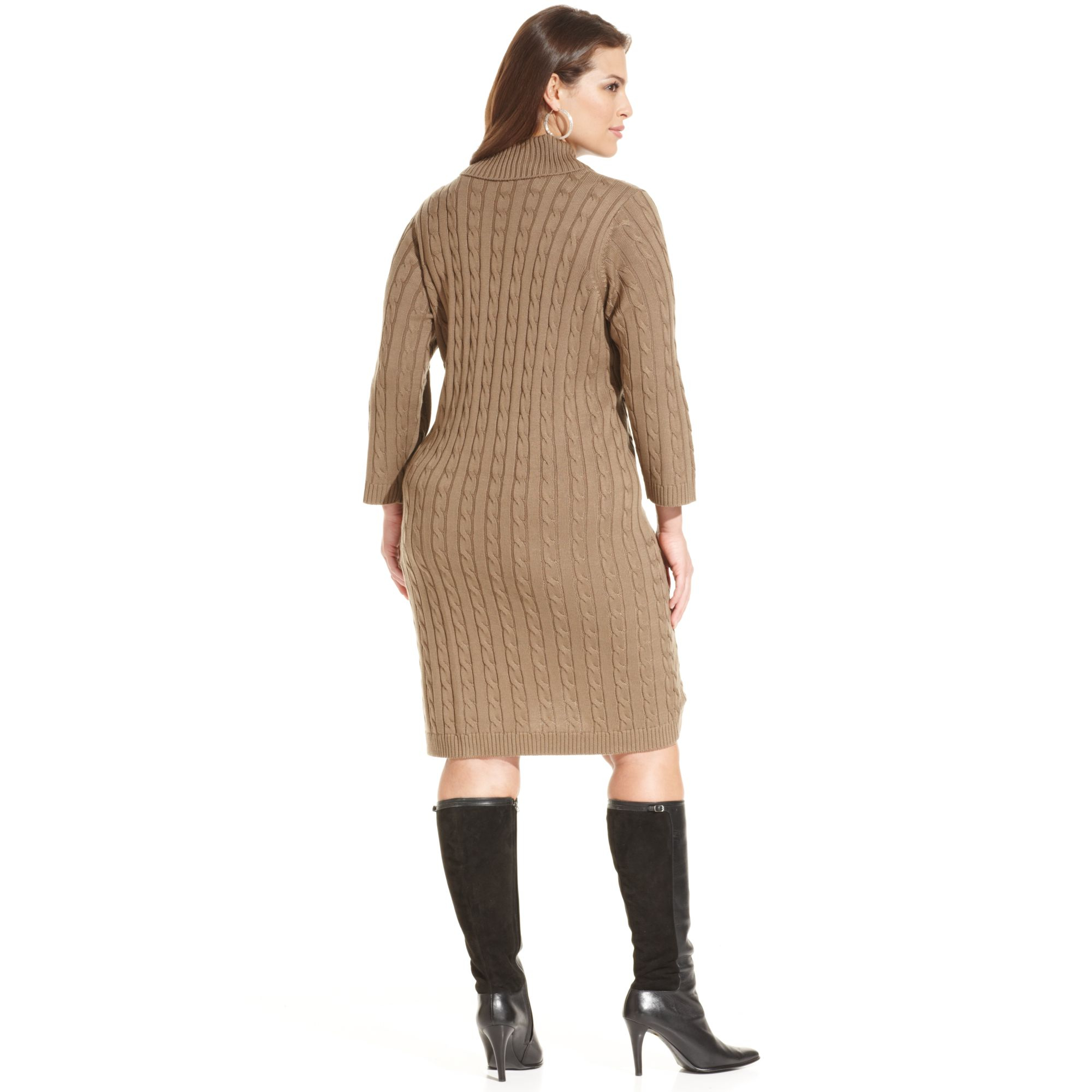 Lyst Calvin Klein Plus Size Cable Knit Sweater Dress In Natural