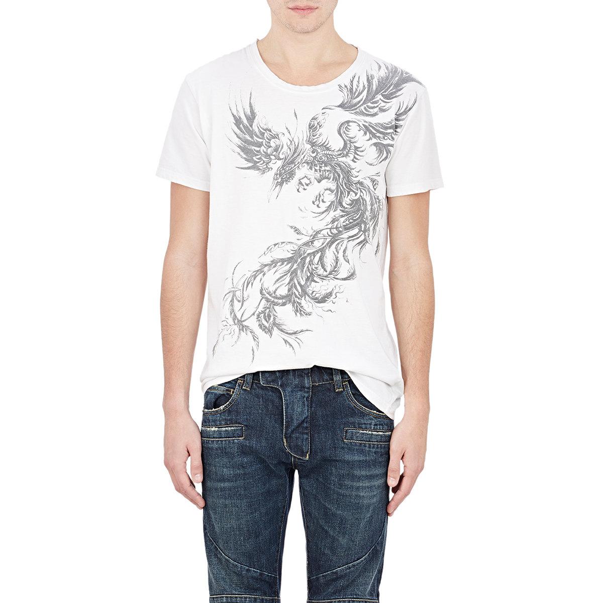 Lyst balmain phoenix print t shirt in white for Phoenix t shirt printing