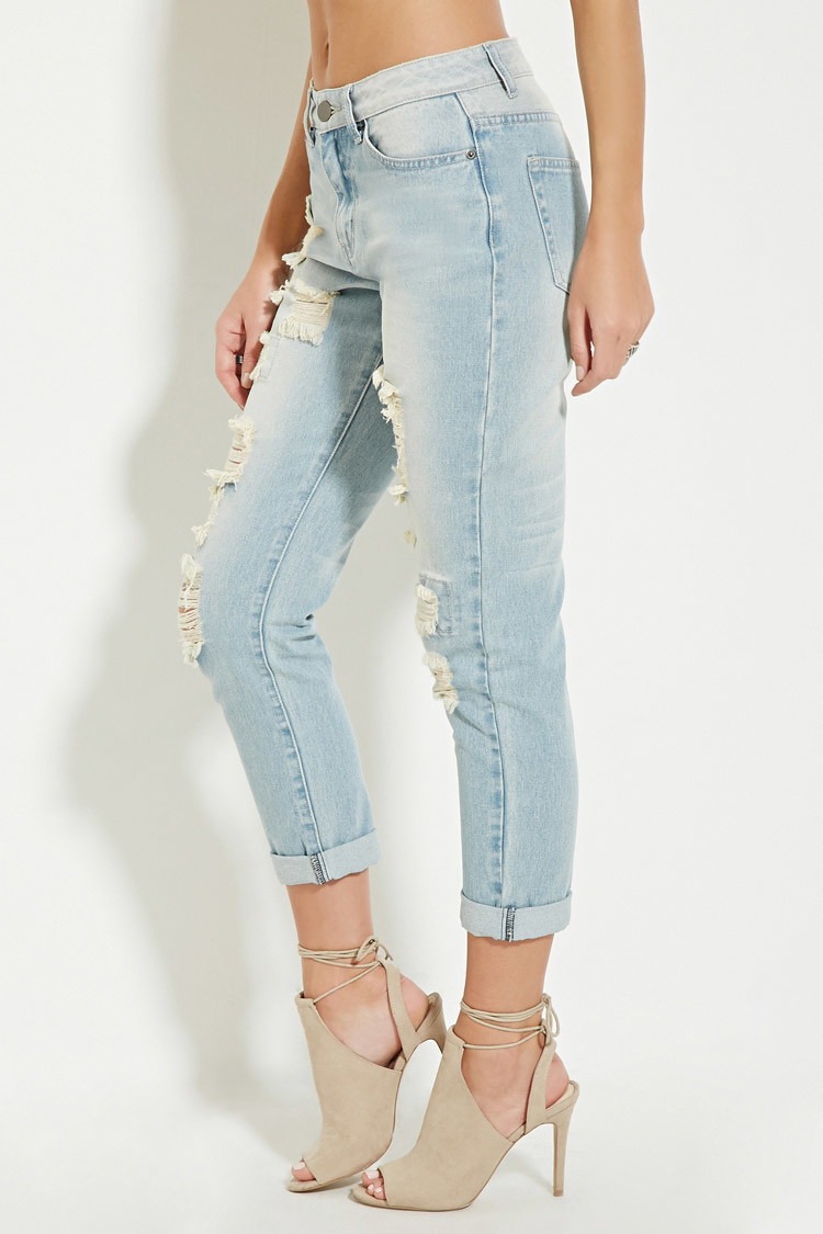 Gallery. Women's Distressed Jeans Women's High Waisted Jeans - Forever 21 High-waisted Distressed Jeans In Blue Lyst