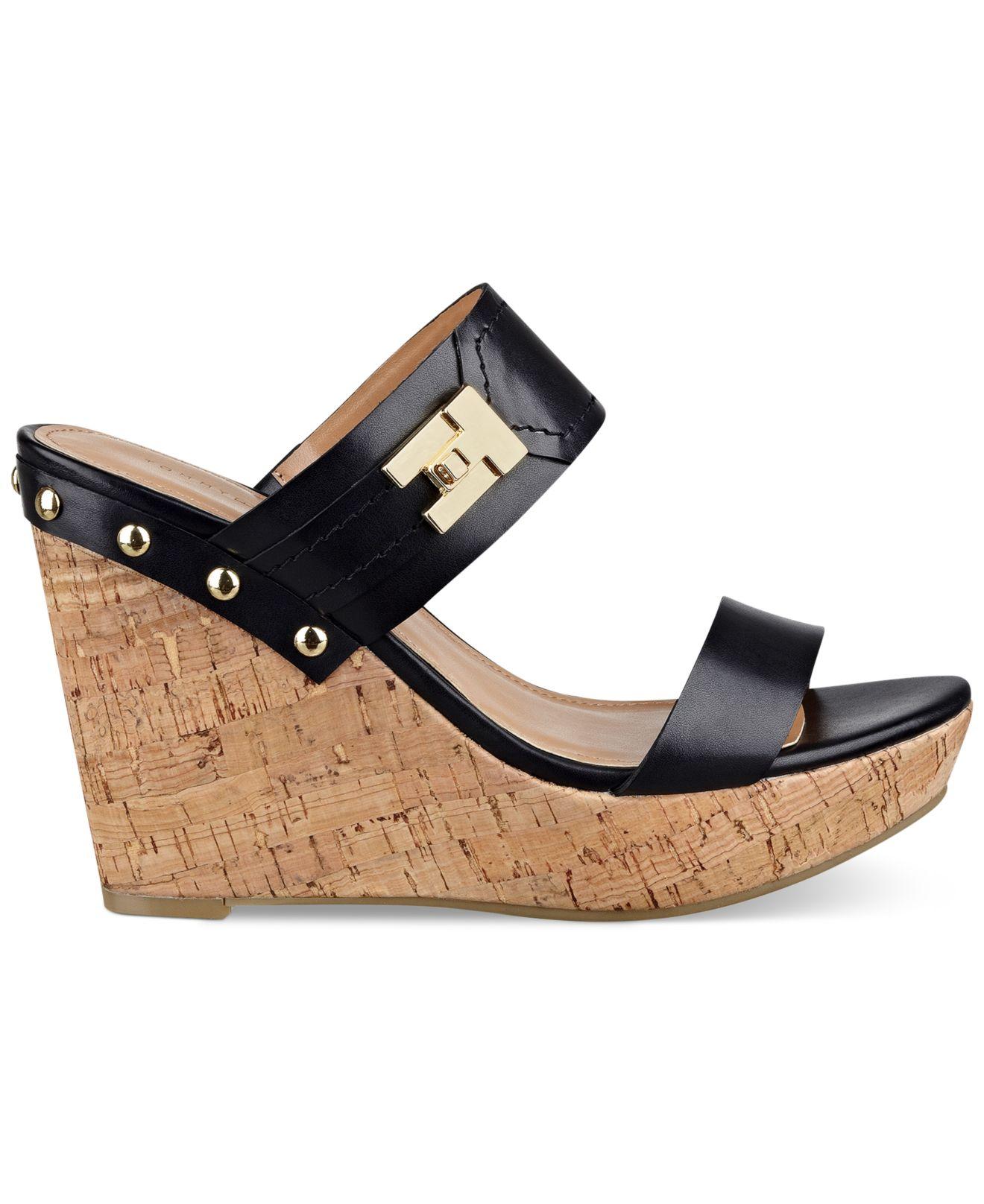 6482de9a2884 Lyst - Tommy Hilfiger Women s Madasen Platform Wedge Sandals in Black