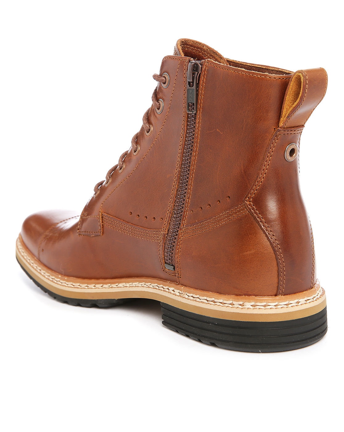 timberland brown leather boots with side zip in brown for