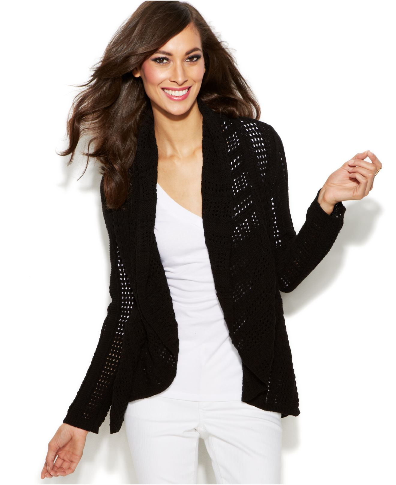 Inc international concepts Pointelle-Knit Open-Front Cardigan in ...