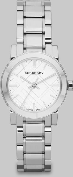 Burberry Check Stamped Round Stainless Steel Watchsilvertone in Silver