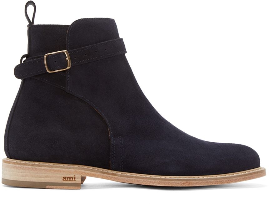 Ami Navy Suede Buckle Boots In Blue For Men Lyst