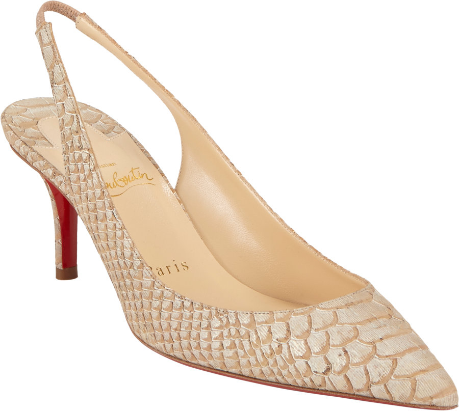 louis vuitton men sneakers - christian louboutin snakeskin peep-toe pumps Beige slingback strap ...