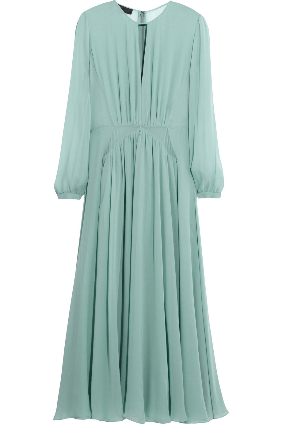 Lyst Burberry Prorsum Silk Chiffon Midi Dress In Green