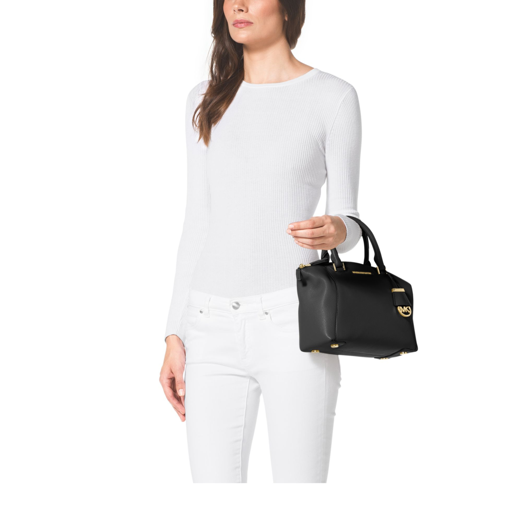 6bdad759e0e1 Lyst - Michael Kors Riley Small Pebbled-Leather Satchel in Black