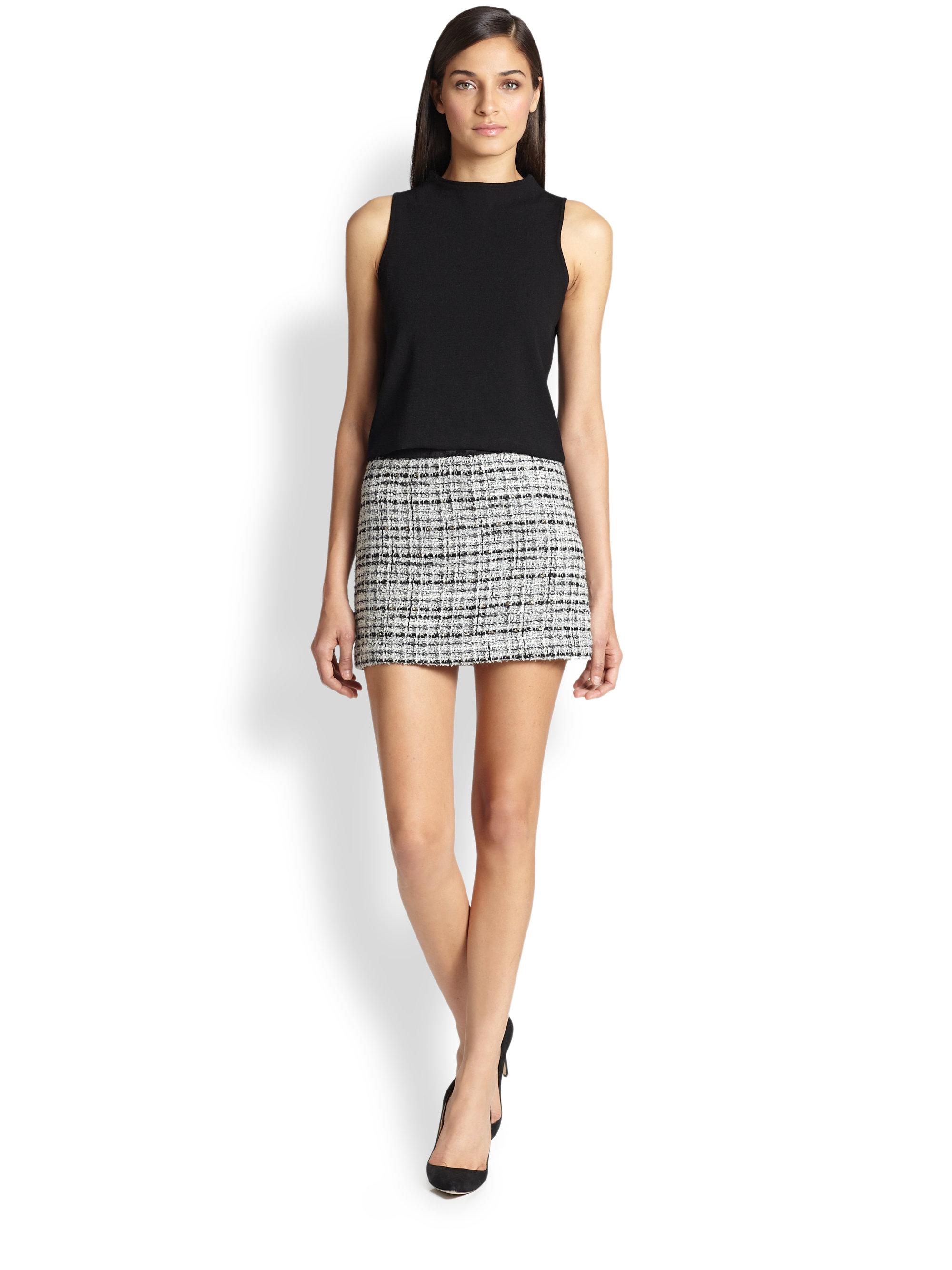Milly Tweed Mini Skirt in Black | Lyst