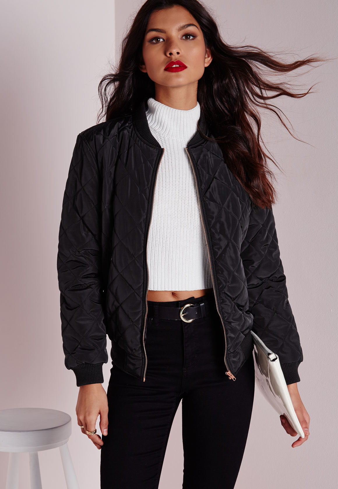 Missguided Quilted Padded Bomber Jacket Black in Black | Lyst