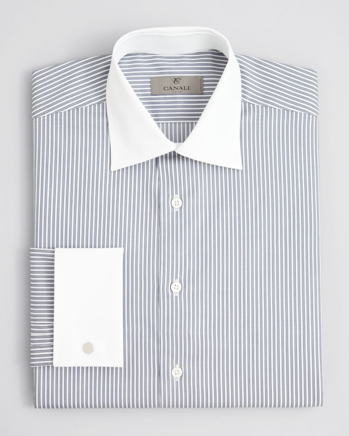 Canali Outline Stripe White Collar Dress Shirt Regular Fit