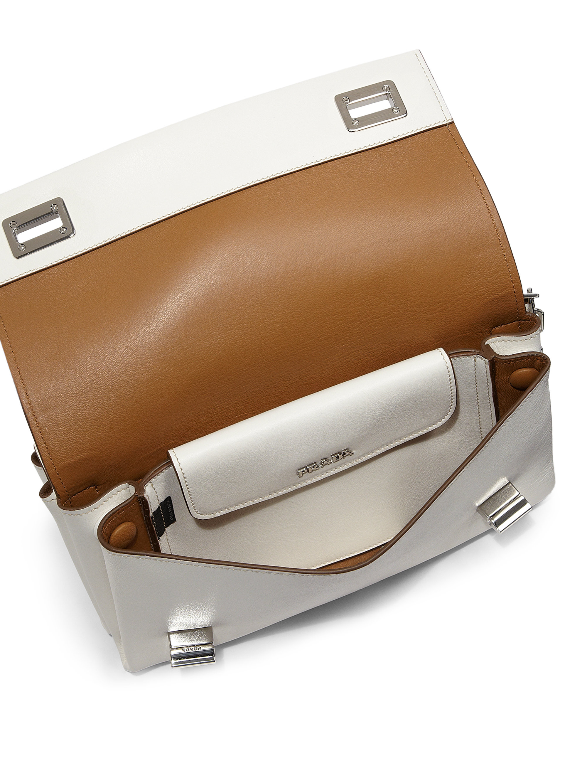 Prada Lux Calf Double Shoulder Bag in White (BIANCO-WHITE) | Lyst