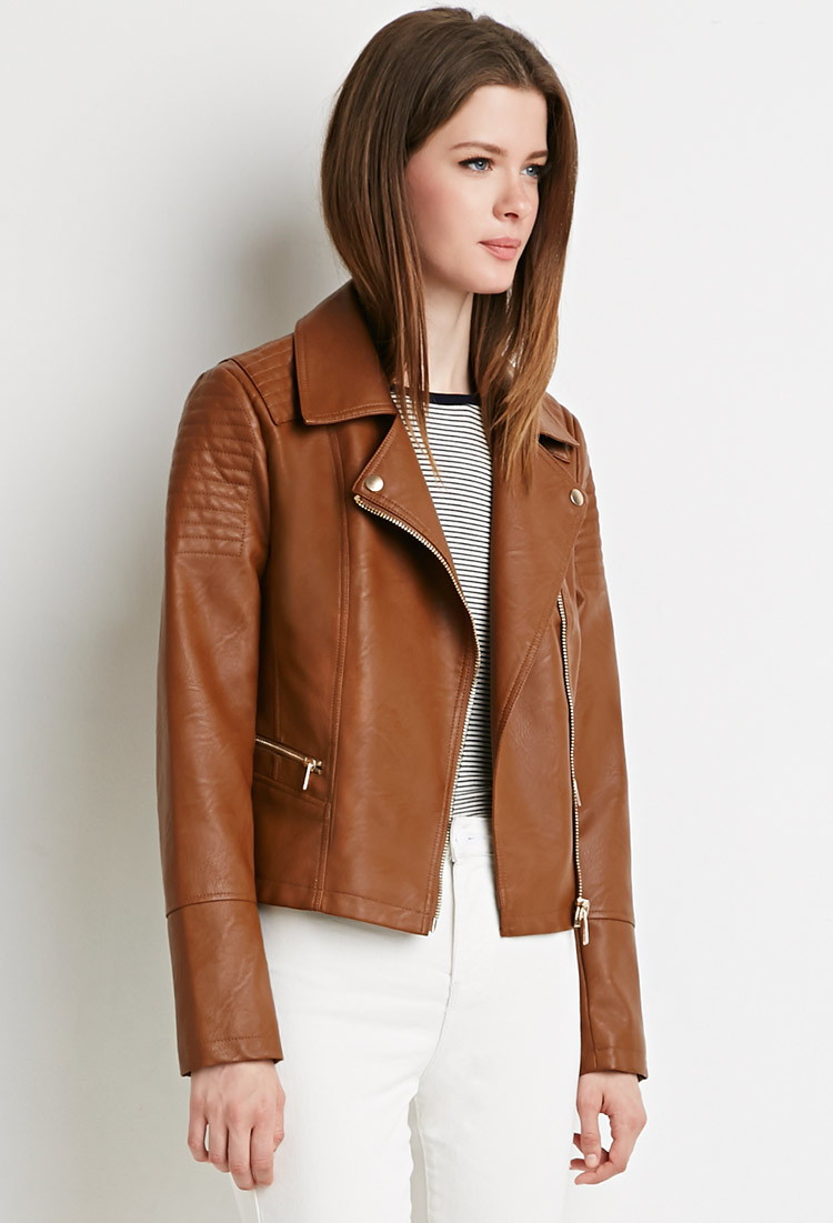 Forever 21 Quilted Moto Jacket in Brown   Lyst : quilted moto jacket - Adamdwight.com
