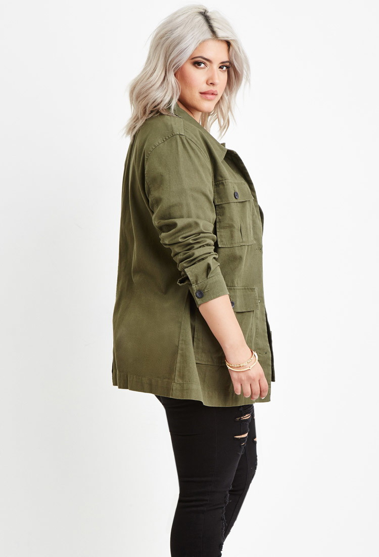 Lyst Forever 21 Plus Size Utility Jacket In Green