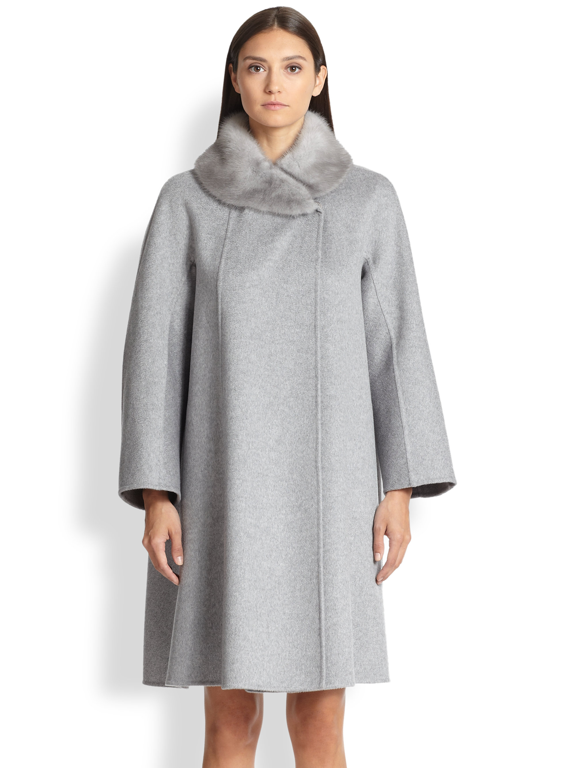 Max mara Fur-Collar Cashmere Coat in Gray | Lyst
