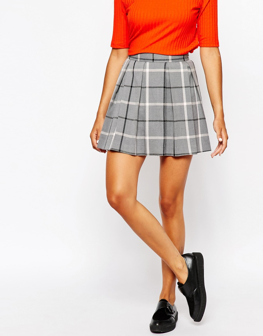 5d772b195c Grey Check Pleated Mini Skirt | Saddha