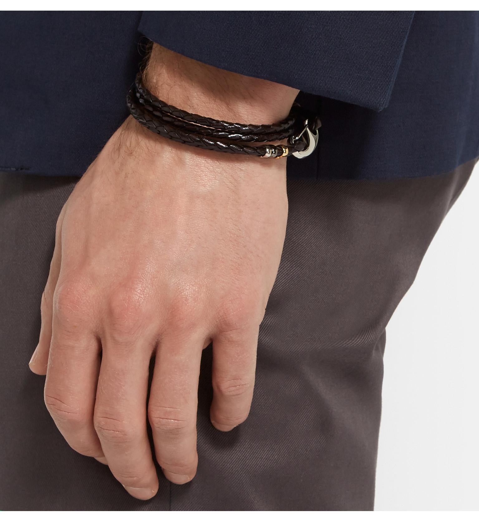 Paul Smith Braided leather double wrap bracelet DJVMTykD6