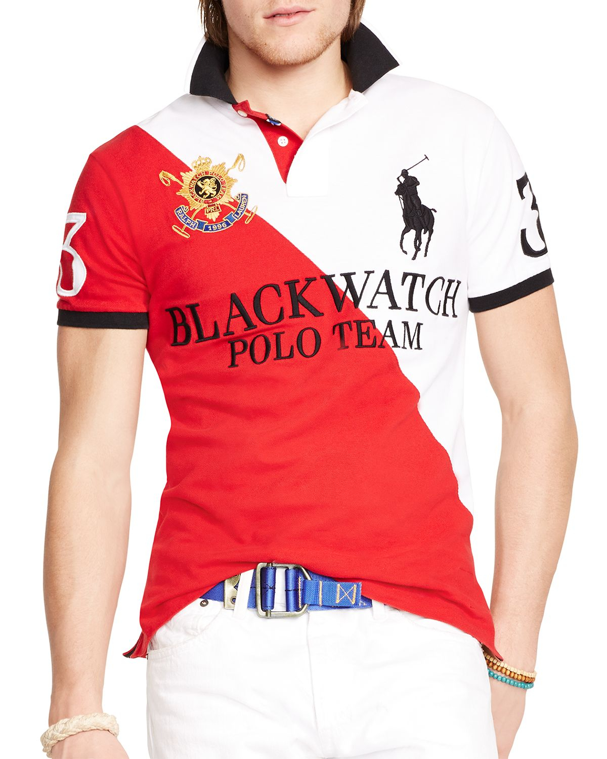 Lyst ralph lauren polo black watch custom fit two toned for Custom design polo shirts