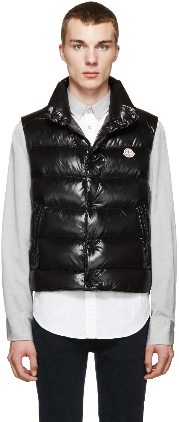 moncler black down tib vest