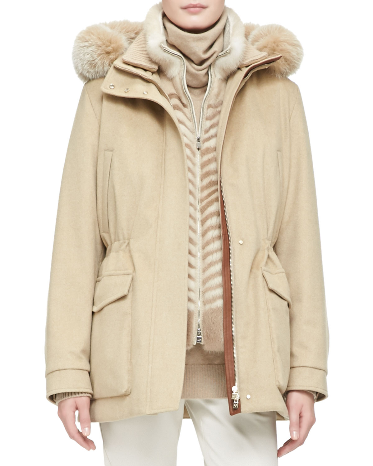 Loro Piana Cashmere Storm Jacket With Fox Fur Hood In Natural Lyst