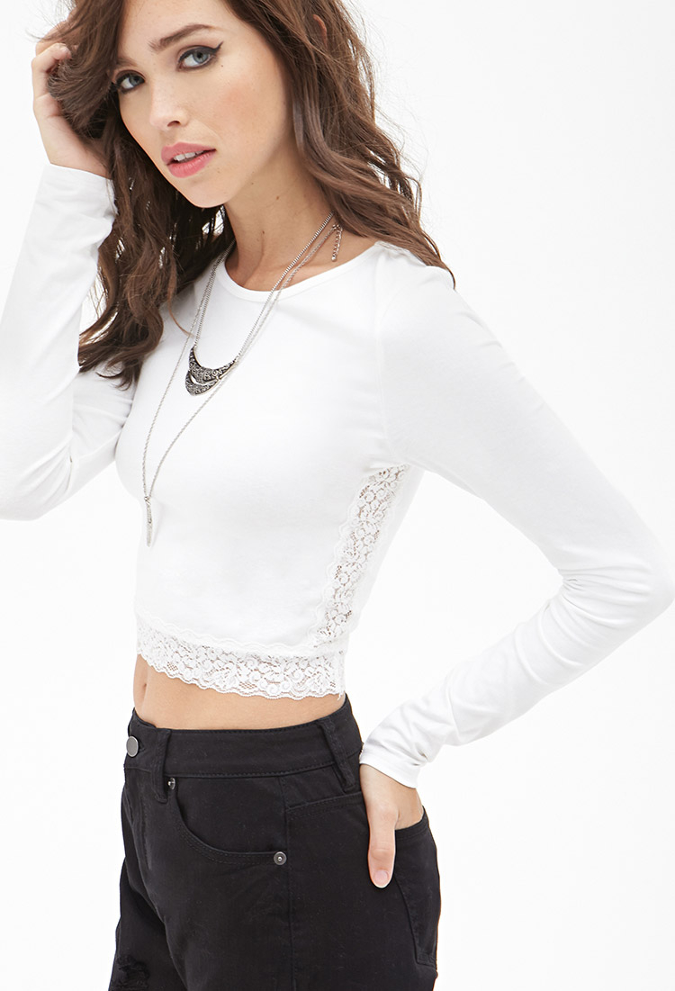 2298d2f2c35 Forever 21 Lace Trim Crop Top in Natural - Lyst