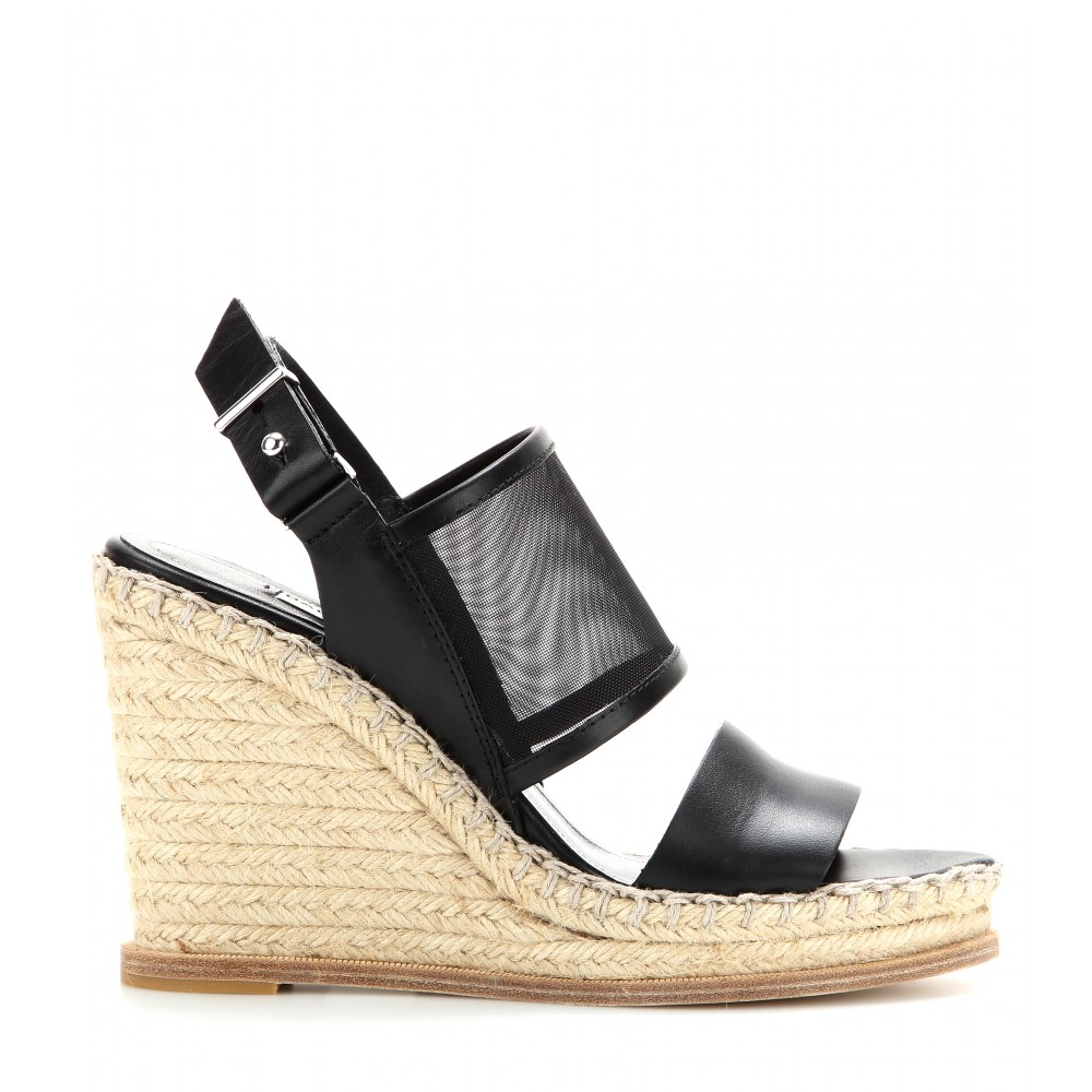 ff11c0637b9d Lyst - Balenciaga Mesh and Leather Espadrille Wedge Sandals in Black