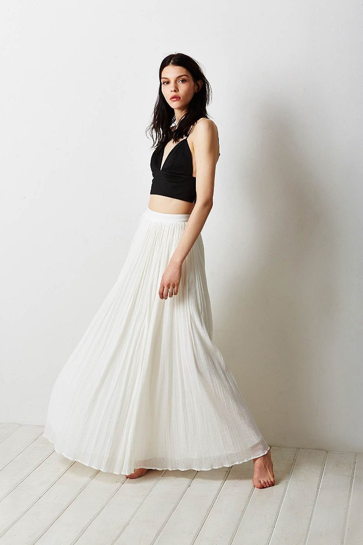 Pins and needles Gauzy Pleated Maxi Skirt in White | Lyst