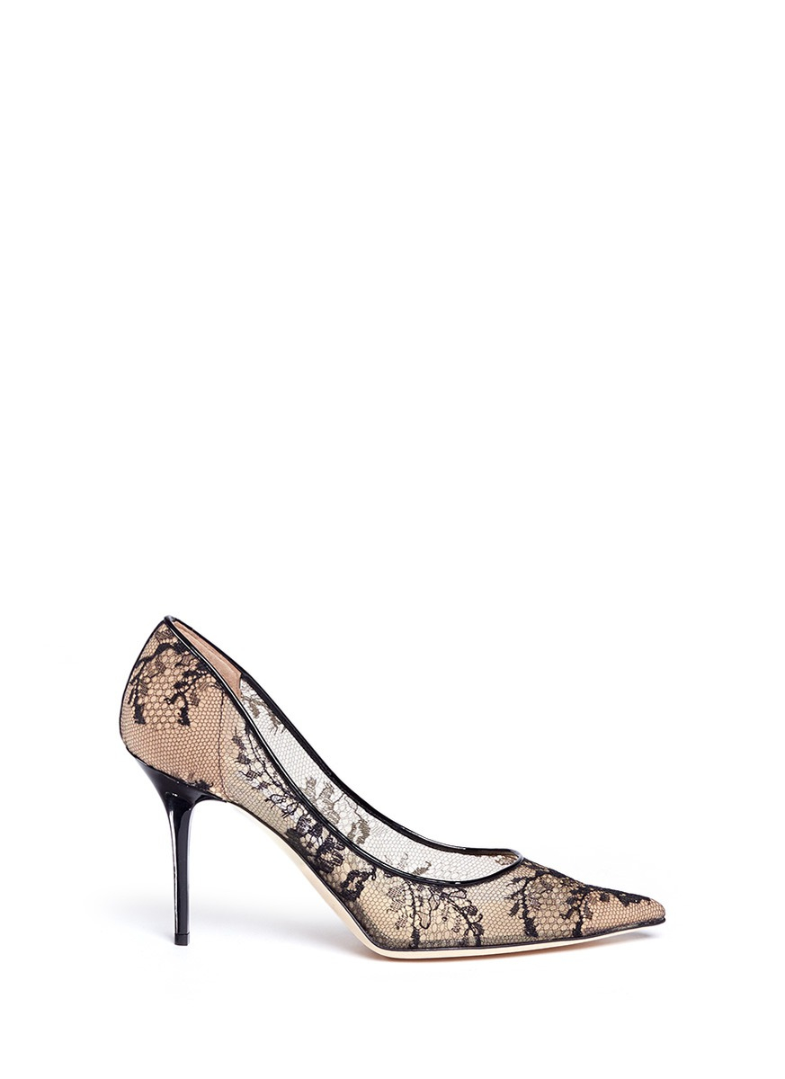 470344012 ... get lyst jimmy choo agnes floral lace pumps in black 19561 bd0d6