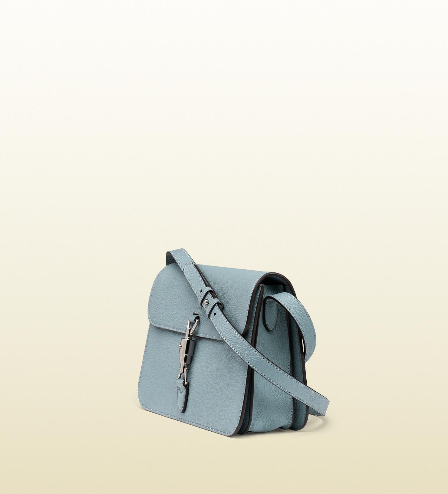 53b573191f Lyst - Gucci Jackie Soft Leather Flap Shoulder Bag in Blue