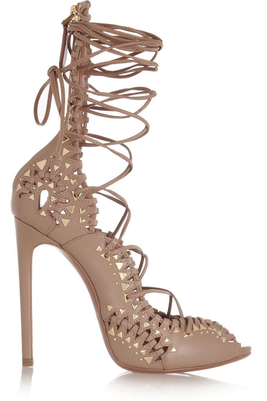 Lyst Ala 239 A Studded Lace Up Leather Sandals In Natural