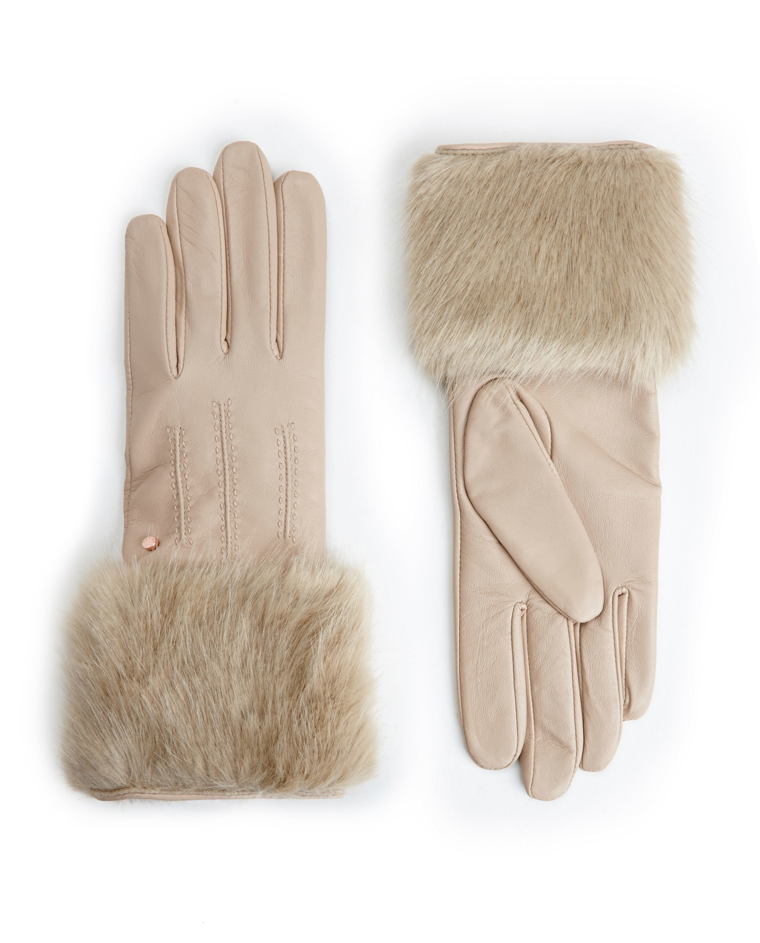 Womens beige leather gloves - Beige Leather Gloves