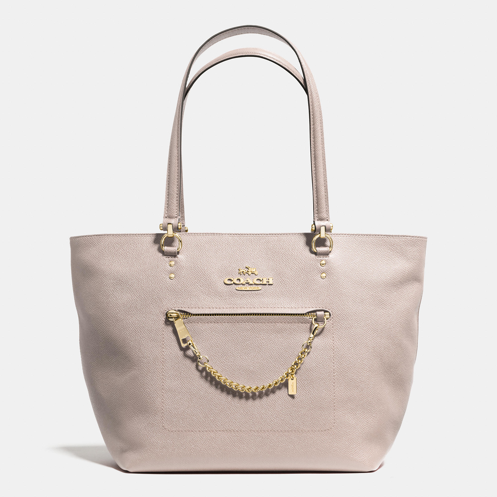 ab71e4693bea Lyst - Coach Town Car Tote In Crossgrain Leather in Natural