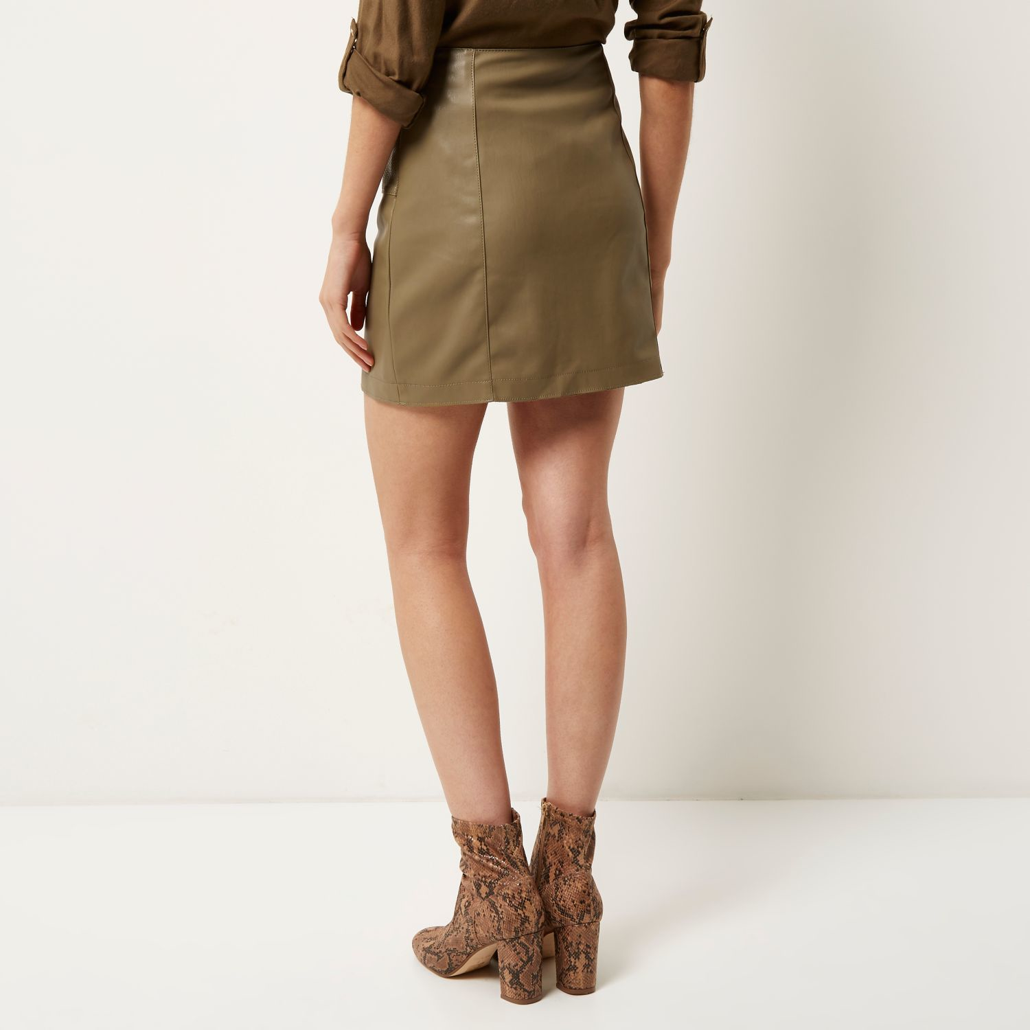 River island Green Leather Look Button Up Mini Skirt in Brown | Lyst