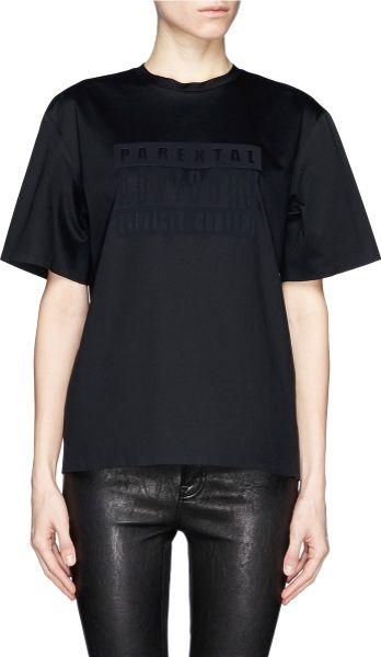 Alexander Wang Parental Advisory Logo T Shirt In Black Lyst