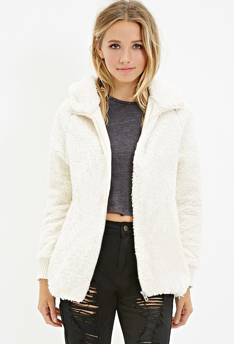 Forever 21 Hooded Faux Shearling Jacket in Natural | Lyst