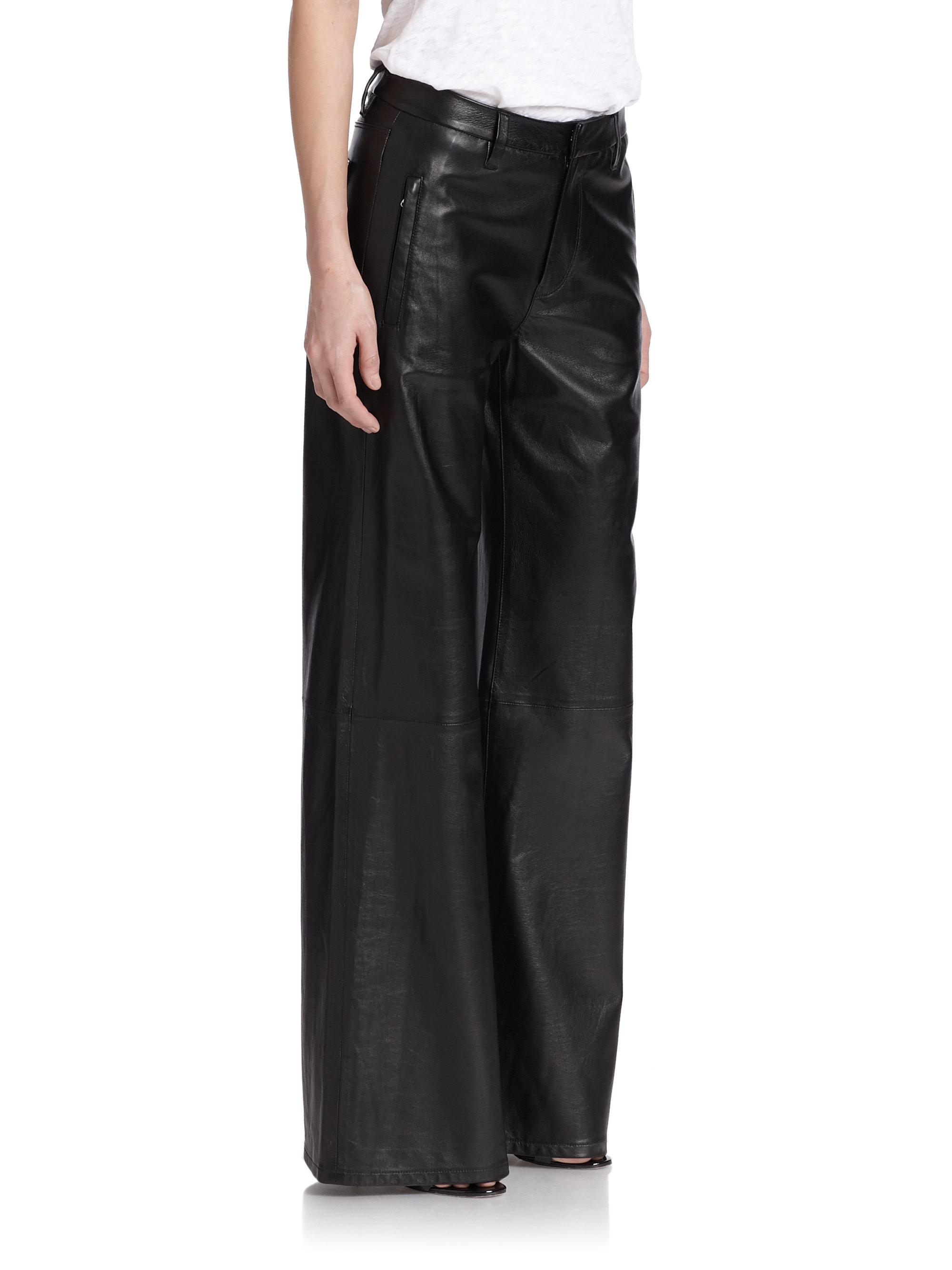 J Brand Carine Wide Leg Leather Pants In Black Lyst