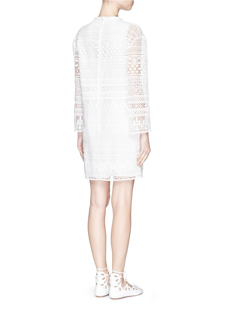 Chloé patchwork embroidery guipure lace dress in white lyst
