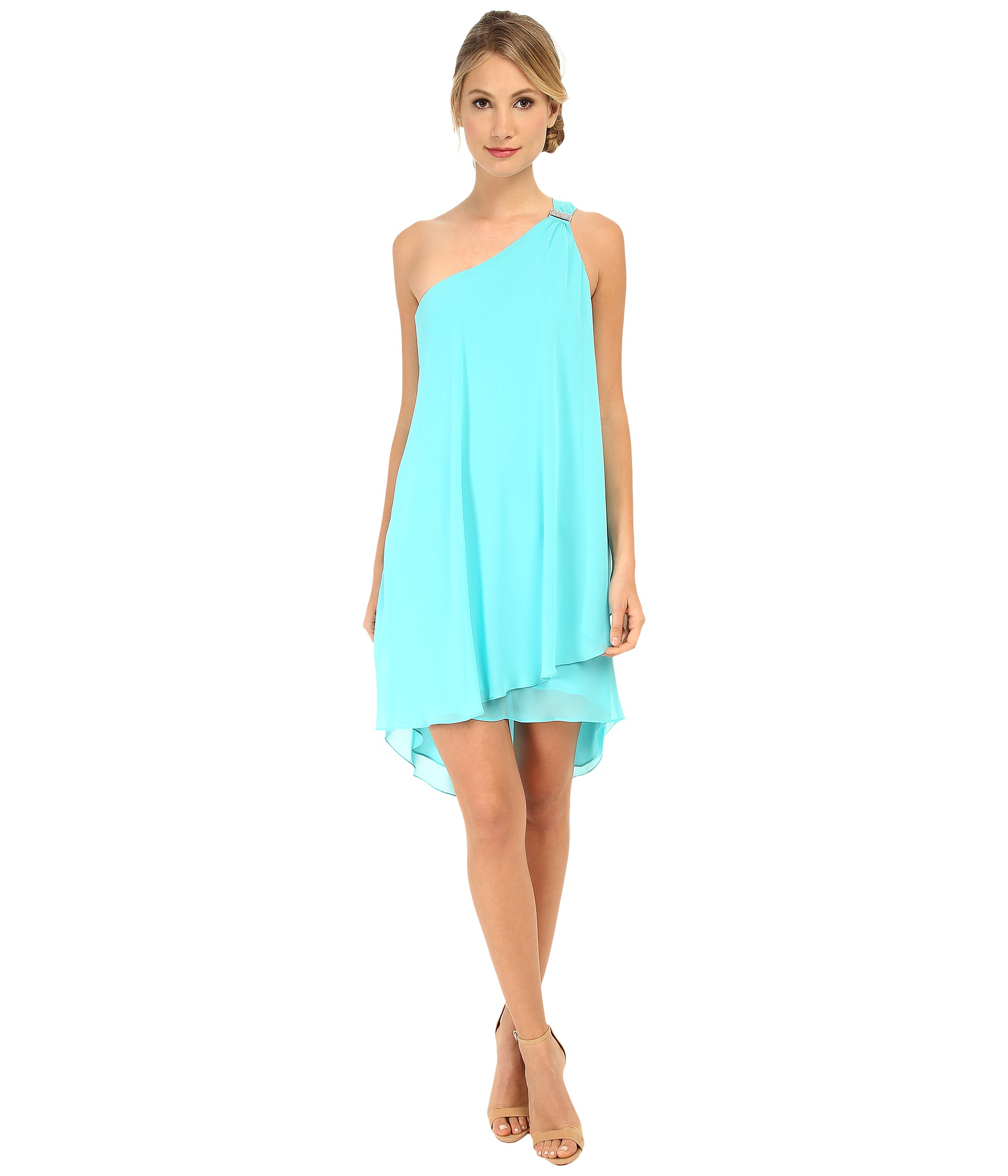 Lyst - Laundry By Shelli Segal Draped Chiffon Cocktail Dress in Blue