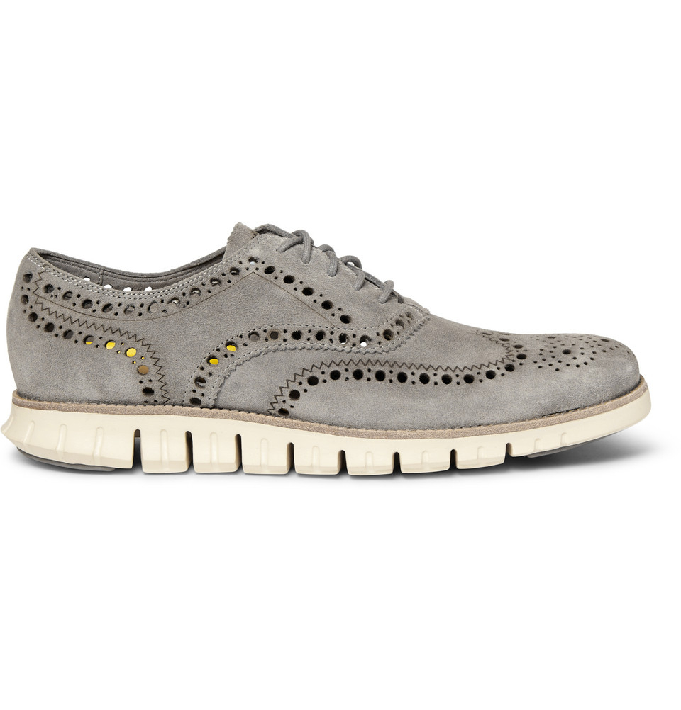 cole haan zerogrand wing suede oxford shoes in gray for